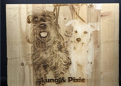 Engraved Dogs Luna and Pixie